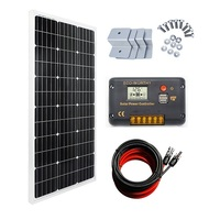 ECO-WORTHY 100 Watt Monocrystalline Solar Panel 12V Off-Grid RV Boat Kit:100 Watt Solar Panel with 20A LCD Display Charge Controller Charging Camping Boat Caravan RV