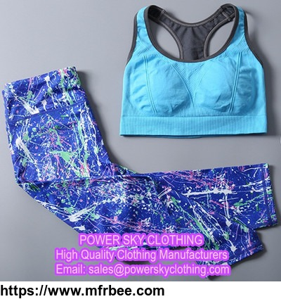 High Quality Custom Print Fitness Private Label Sports Colorful Breathable Sexy Capri Yoga Pants Sets From Power Sky Clothing Manufacturers