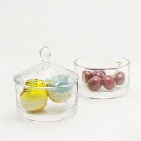 two tiers round shape clear glass jar for food and dessert with lid glassware storage bottle