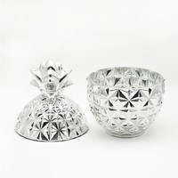 wholesale electroplate storage bollte for gifts pineapple shaped glass CandyJar