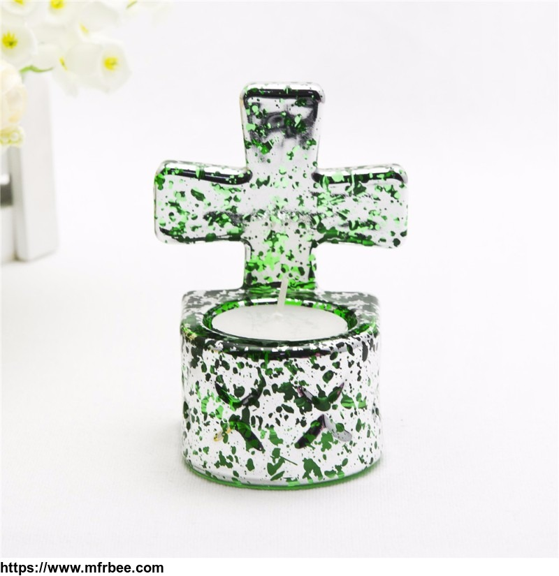 Home decor clear glass tealight candle holder with cross for Christmas gift
