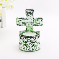 more images of Home decor clear glass tealight candle holder with cross for Christmas gift