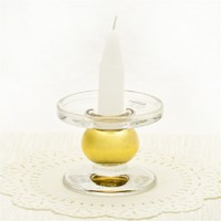 luxury style pillar gold-plating glass candlestick holder wholesaler