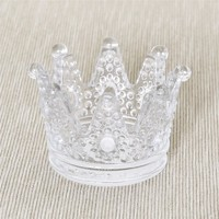 home decor clear glass crown candle holder