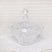 Wholesale glass candy box with lid high quality glassware