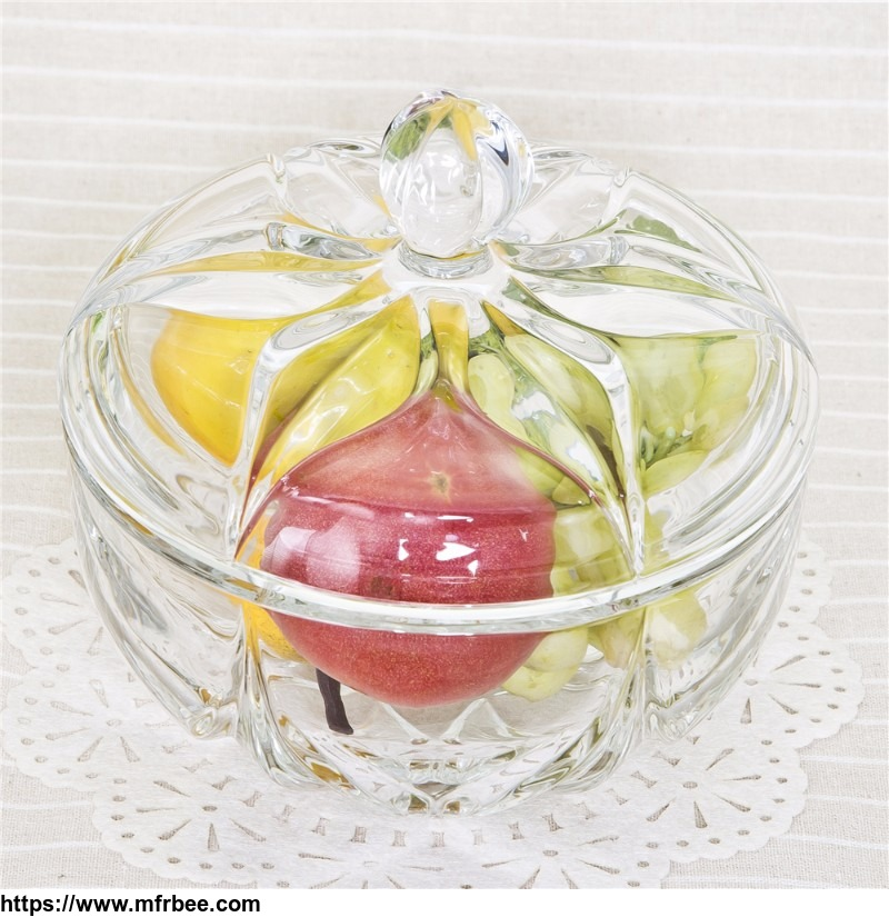 Pumpkin shaped clear glass candy jar
