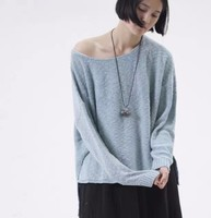 Hot-Selling Side Slit Light Blue Sweater Loose Cotton Wear