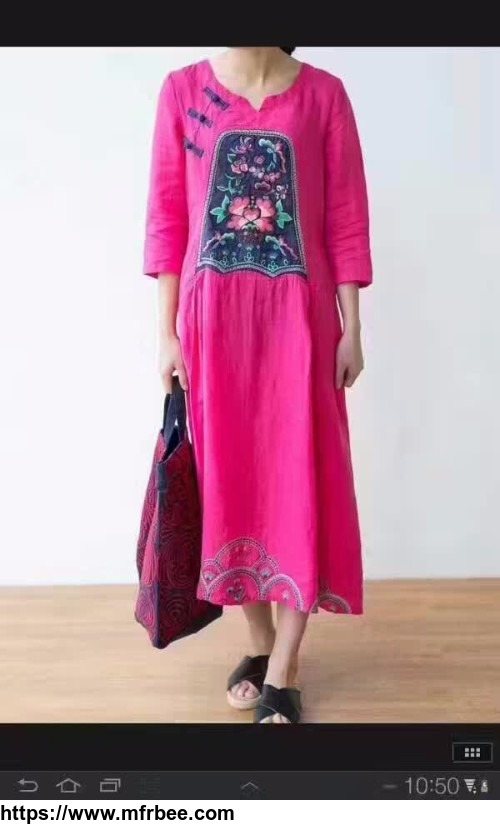 Chinese Buttons Vintage Embroidered Dress Plus Size Elegant Dress