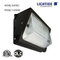 DLC Premium Semi Cut-off LED Wall Pack Lights-Glass Refractor 40W