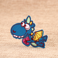 Blue Dinosaur Embroidered Patches