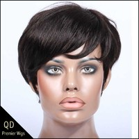 Rihanna Style Short Bob Indian Remy Hair Machine Made Wigs