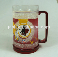 double wall frosty freezer beer mug with gel or gel inside from factory