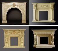 French Style Classic White Cherub Marble Fireplace Mantel with Angle Statue