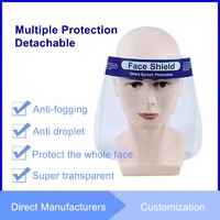 Face Mask Protective Shield Plastic Full Face Shield  HD Clear Transparent Cover Cap PET Anti-Fog Mask
