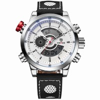 New Weide Sport Watch Men Genuine Leather Black Strap Analog Quartz Watches