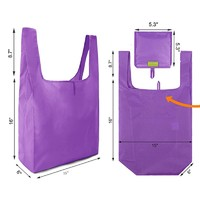 Reusable Grocery Bags Grocery Tote Foldable into Attached Pouch, Ripstop Polyester Reusable Shopping Bags, Washable, Durable and Lightweight