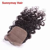 Natural Deep Curly Virgin Peruvian Silk Base Closure 100% Human Hair