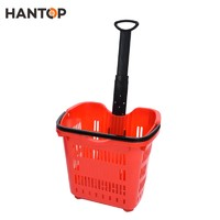 Plastic shopping basket with 2 wheels for supermarekt HAN-TB33 3786