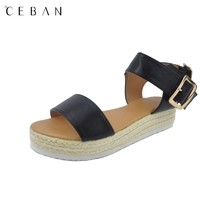 women platform sandals jute outsole big buckle fashion casual comfortable shoes