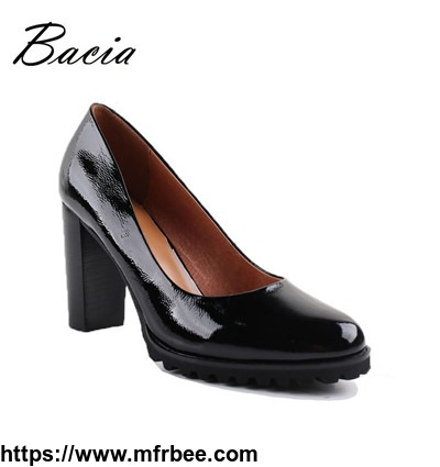 women_round_head_pumps_patent_leather_shoes_thick_high_heels