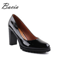 Women Round Head  Pumps Patent Leather Shoes Thick High Heels