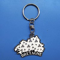 Promotional gifts for France Bretagne people custom logo design soft enamel metal keychain