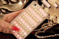 Perfume bottle Rhinestone square drill pearl iphone6/6plus mobile phone sets