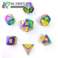 Custom RPG Table Game Metal Side Colorful 7 Pieces D4 D6 D8 D10 D12 D20 5mm Mini DND Polyhedral Dice Set