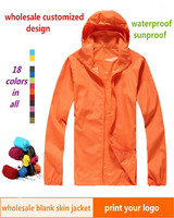 anti-uv nylon  outdoor men's windbreaker skin jacket reflective protection waterproof windbreaker hooded rain jacket