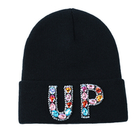Custom fashion women mens black beanie winter ski hat with applique diamond letters rhinestone pattern