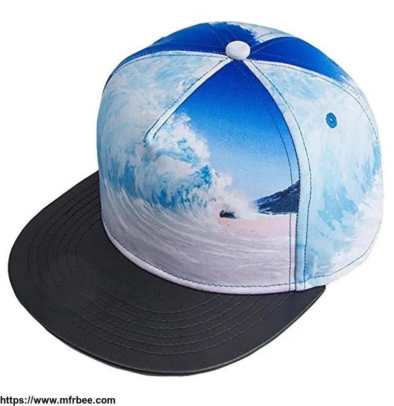 custom_new_fashion_supreme_5_panel_sublimate_printing_sea_wave_snapback_hat_with_flat_leather_brim