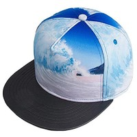 Custom new fashion supreme 5 panel sublimate printing sea wave snapback hat with flat leather brim