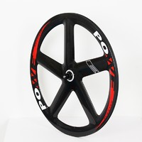 one set of carbon fiber 5 spoke wheels used in track bike and fixie bike