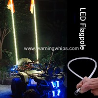 6ft Red Color LED Whips Lighted LED Antenna ATV Flag Whip on ATV/UTV