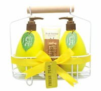 Organic Fresh Pear Relaxing SPA Bath Sets /Shower Gel/Bath Salt/Body Lotion in Wire Basket