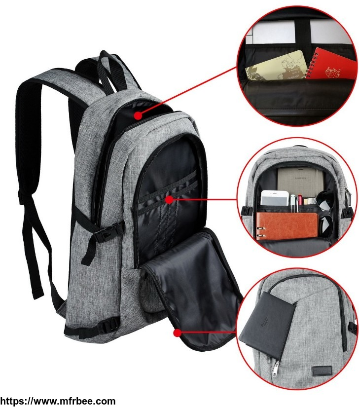 travelambo_business_water_resistant_polyester_laptop_backpack_travel_bag_with_usb_charging_port_and_lock_fits_under_17_inch_laptop_and_notebook_gray_