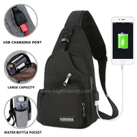 Small Travel Gym Bike Sling Bag, Laptop iPad Mini Sling Chest Cross Body Backpack, Water Resistant One Shoulder EDC Crossbody Daypack with Water Bottle Pocket USB Charging for Men Women