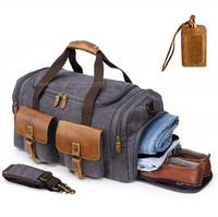 Canvas Duffle Bag Oversized Genuine Leather Weekend Bags for Men and Women