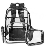 Clear Backpack with Cosmetic Bag,Multi-Pockets Clear Transparent PVC School Backpack Casual Backpack with Comfortable Shoulder Straps Fits 15.6 Laptop for Women and Men (Black)