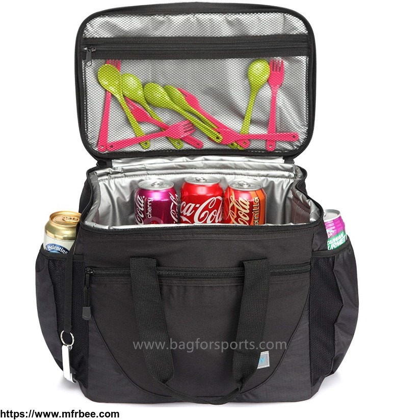 Large Cooler Bag, 30-Can 23L Insulated Leakproof Picnic Lunch Bag Multi-Pockets for Camping, Beach, Travel, Fishing with Detachable Shoulder Strap,Beer Opener Black