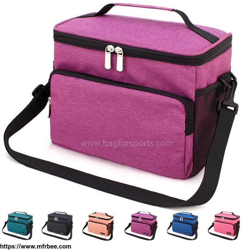 reusable_insulated_cooler_lunch_bag_office_work_school_picnic_hiking_beach_lunch_box_organizer_with_adjustable_shoulder_strap_for_women_men_and_kids_purple