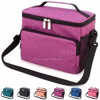 Reusable Insulated Cooler Lunch Bag - Office Work School Picnic Hiking Beach Lunch Box Organizer with Adjustable Shoulder Strap for Women,Men and Kids-Purple