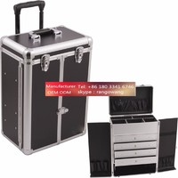 Pro Cosmetic Case with Aluminum Drawers and Wheels