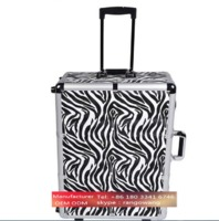 custom lighting aluminum makeup case with mirror portable cosmetic case makeup artist travel trolley