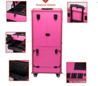 2016 Newest Design Professional Pink Pvc Makeup Trolley Case With Touch Screen Mirror Light