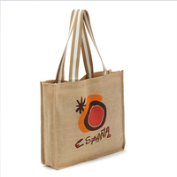 burlap jute shopping tote bag