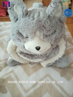 Two Layer Sherpa Baby Blankets with Rabbit Toy Pattern
