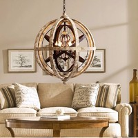 New American Mediterranean Vintage rustic iron spherical lamp interior creative chandeliers with UL/CE