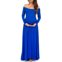 Maternity Maxi Dresses | Ruched, Open Shoulder Maternity Dress