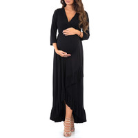 Women's 3/4 Sleeve Faux Wrap Maternity Dress at a Discounted Price